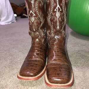 Ferrini Brown Gator Belly Print Boots